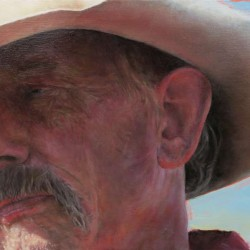 Close Up of Cowboy Paul 12″ X 21″ oil on Birch